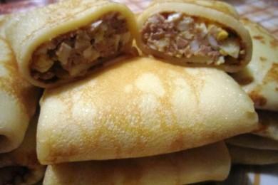 Рецепт Блинчики с начинкой из печени утки