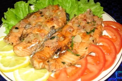 Пряные стейки  из лосося