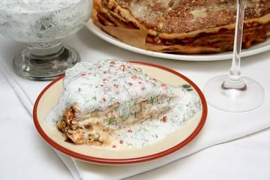 Рецепт Блинчатый пирог с лососем