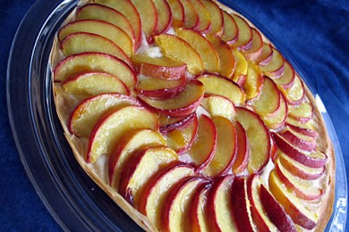 Рецепт Открытый пирог с персиками