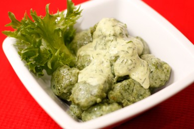 Рецепт Картофельные клецки со шпинатом