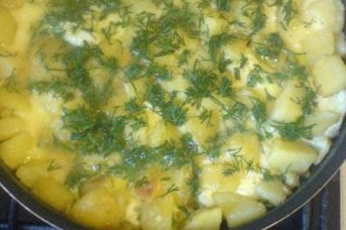 Рецепт Яичница с картофелем