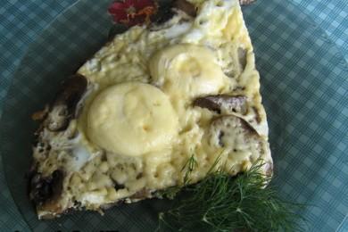 Рецепт Яичница с грибами и рисом