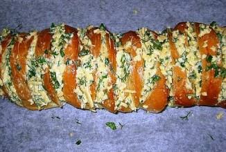 Запеченный батон с сыром - приготовление