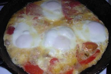Рецепт Яичница с грибами и помидорами
