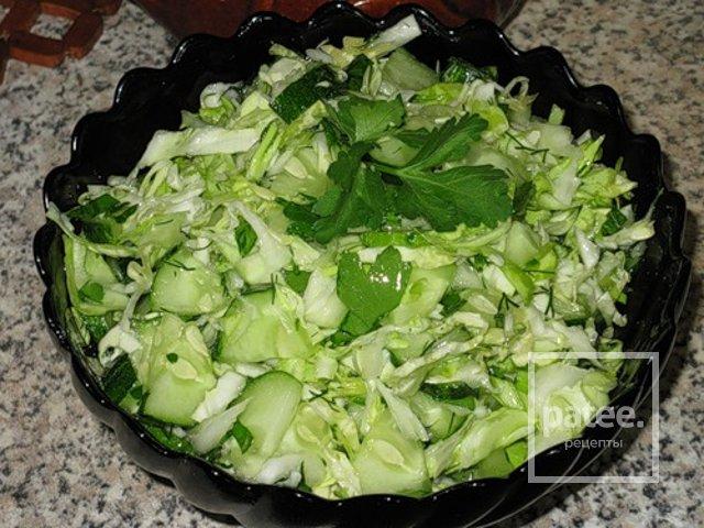 Салат из свежей капусты с огурцом и перцем рецепт очень вкусный