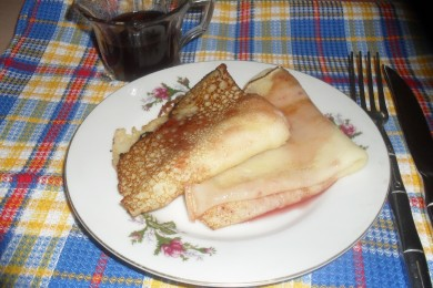 Рецепт Рисовые блины с малиновым сиропом
