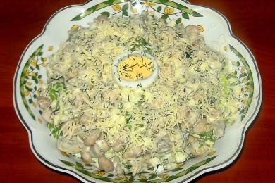 Рецепт Салат с грибами и фасолью