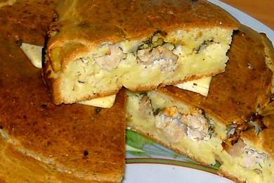 Рецепт Заливной пирог с индейкой и картофелем
