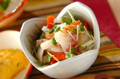Рецепт Сашими из дорадо с овощами и зеленью