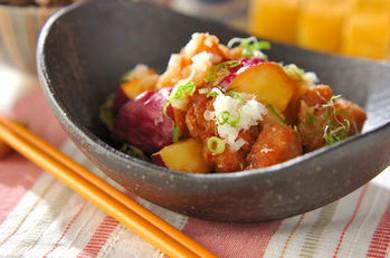 Рецепт Салат из курицы и сладкого картофеля во фритюре