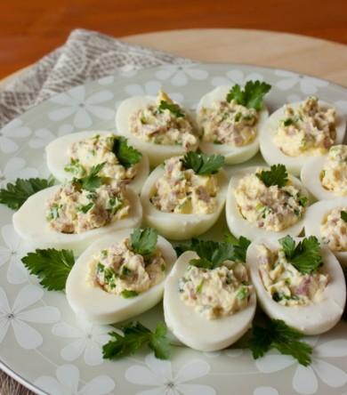 Рецепт Яйца фаршированные ветчиной