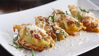 Рецепт Ракушки, фаршированные шпинатом и сыром