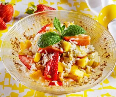 Рецепт Горячий рисовый салат с фруктами