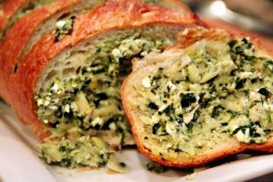 Рецепт Хлеб с начинкой из артишоков, феты и чеснока