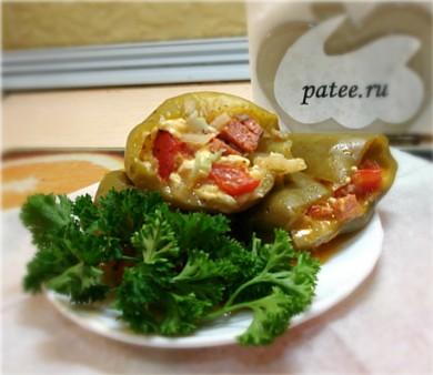 Рецепт Перец, фаршированный овощами с сыром и колбасой