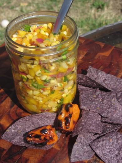 Рецепт Сальса с овощами и фруктами, обжаренными на гриле
