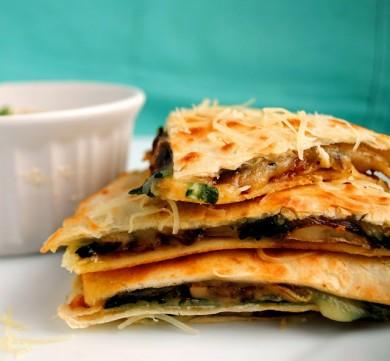 Рецепт Кесадилья со шпинатом и грибами