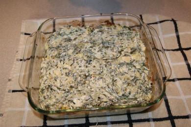 Рецепт Шпинат с артишоками запеченный под сыром