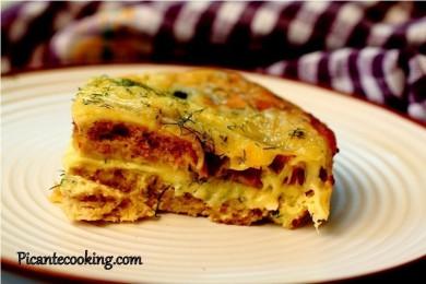 Рецепт Сырная запеканка с хлебом и укропом