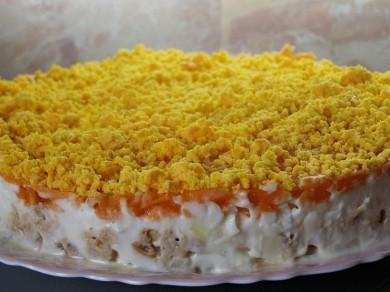Рецепт Рыбный салат Мимоза