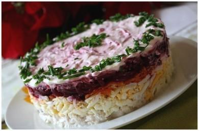 Рецепт Слоеный салат с мясом и овощами