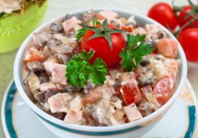 Рецепт Салат с ветчиной и грибами