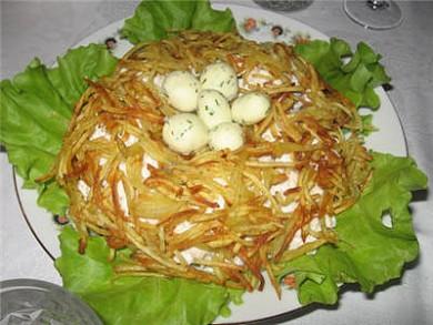 Рецепт Куриный салат Гнездо глухаря
