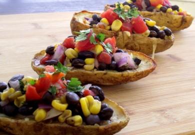 Рецепт Картофельные лодочки с фасолью и кукурузой