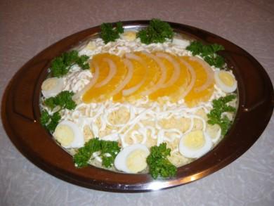 Рецепт Салат Дипломат с яйцом и апельсином
