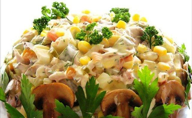 Салат с курицей и грибами рецепт с фото пошаговый и помидор