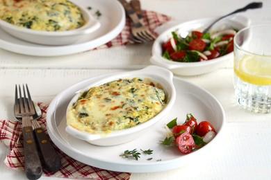 Рецепт Запеканка с грибами, сыром и шпинатом