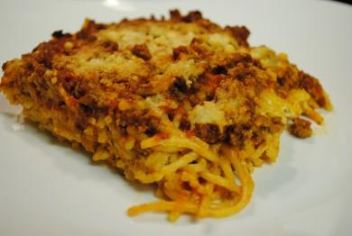 Рецепт Запеканка из спагетти с мясом и сыром