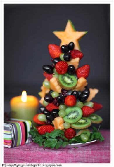 Елочка из фруктов и ягод