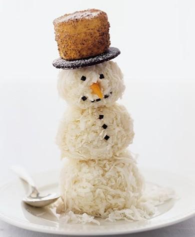 Рецепт Снеговики из мороженого и кокосовой стружки