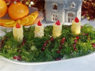 Рецепт Салат Новогодние свечи