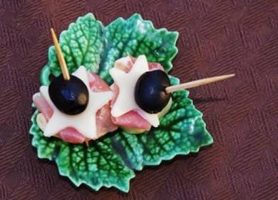 Рецепт Закуска из ветчины, сыра и пельменей