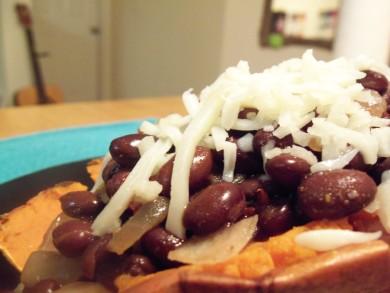 Рецепт Запеченный сладкий картофель с фасолью