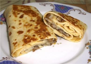Рецепт Блинчики с сыром и грибами