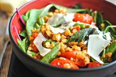Рецепт Овощной салат с чечевицей