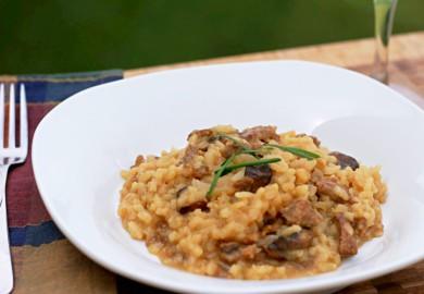 Рецепт Ризотто с грибами и колбасой