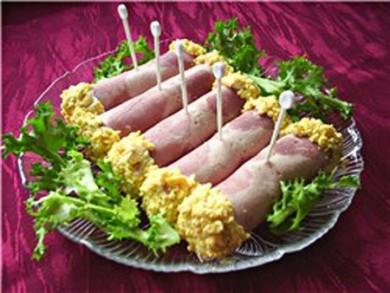 Рецепт Рулетики из ветчины с сыром и чесноком