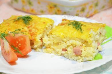Рецепт Рисовая запеканка с ветчиной