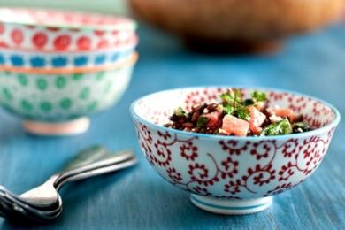 Рецепт Ячменный салат с портулаком и арбузом