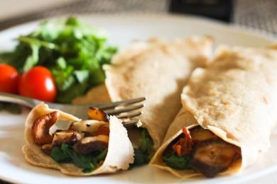 Рецепт Блинчики с грибами и шпинатром