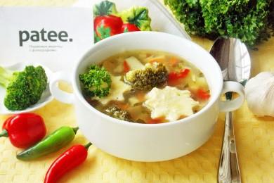 Рецепт Овощной суп с брокколи и яичным суфле