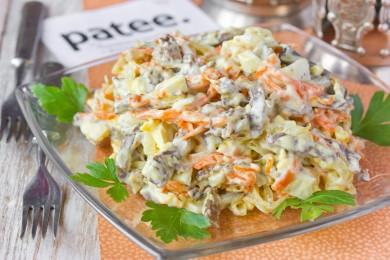 Рецепт Салат с сердцем, яйцами и овощами