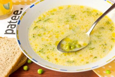 Рецепт Суп с зелёным горошком и плавленым сыром