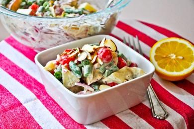 Рецепт Картофельный салат с помидорами и луком под домашним соусом