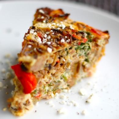 Рецепт Рисовый киш с беконом и овощами